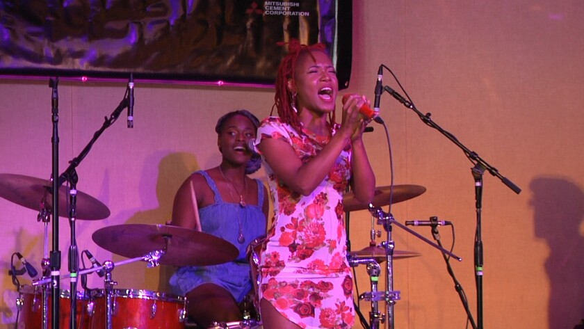 Tierinii  and Tikyra Jackson of Southern Avenue are shown recording their set for the San Diego Blues Festival.