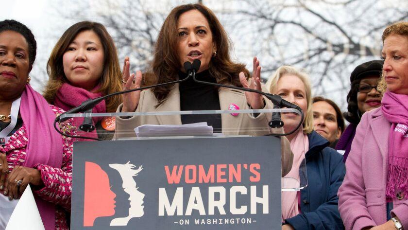 U.S. Sen. Kamala Harris (D-Calif.) speaks during the Women's March on Washington on Jan. 21.
