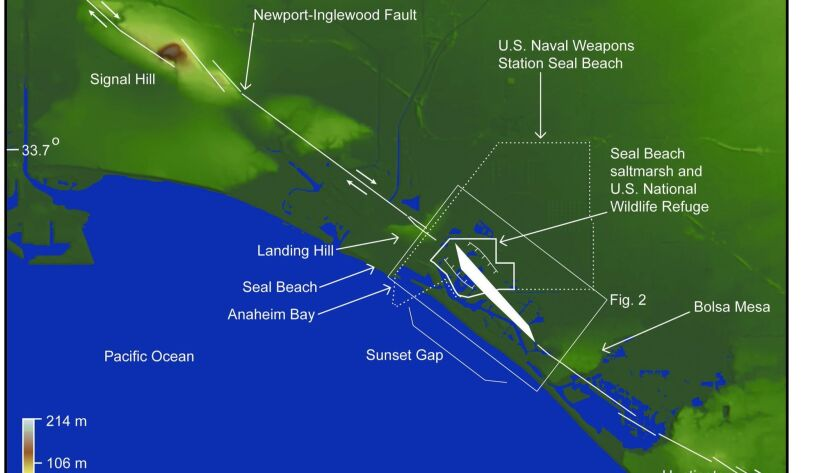 The area shaded in solid white, which spans the Seal Beach National Wildlife Refuge and the Huntington Harbour area of Huntington Beach, highlights the zone along the fault that may experience abrupt sinking during future earthquakes on the Newport-Inglewood fault.