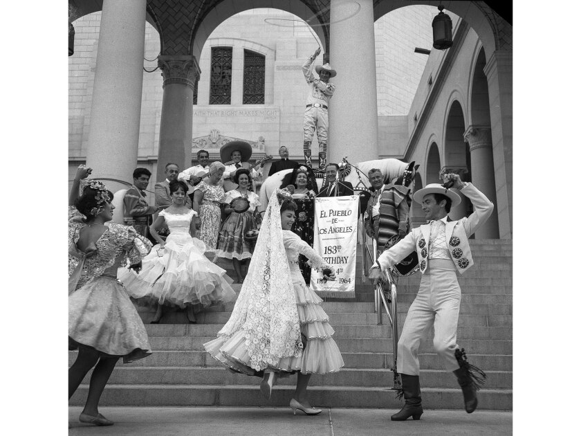 Sept. 2, 1964: Dancers perform at City Hall during a kickoff celebration of the 183rd anniversary of the founding of the city of Los Angeles.