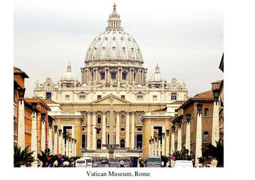 Among the many destinations via illustrated lecture will be The Vatican in Rome
