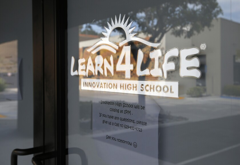 A Learn4Life Innovation High school and its sign in Lemon Grove