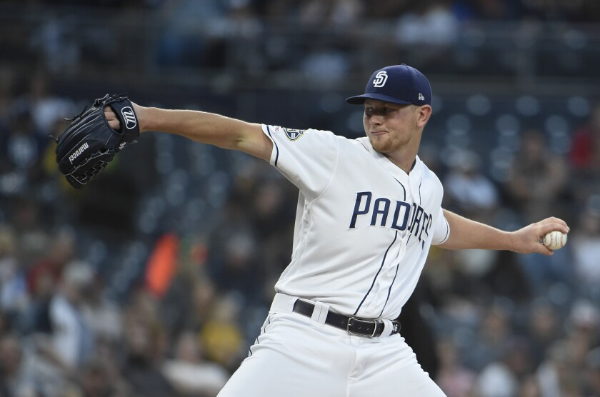 Eric Lauer pitches during the second inning of Saturday's game against the Washington Nationals at Petco Park.