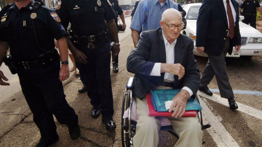 Edgar Killen arrived in a wheelchair at the Neshoba County Courthouse for jury selection in his murder trial on June 13, 2005, in Philadelphia, Miss.
