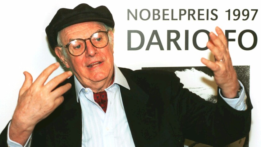Dario Fo gives an interview in October 1997 at a German publishing house in Frankfurt.