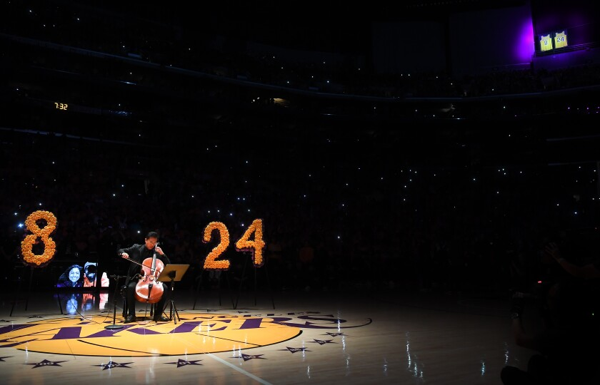 Ben Hong plays the cello during the pregame ceremony honoring Kobe Bryant at Staples Center on Jan. 31.