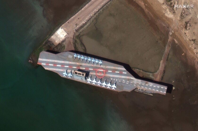 Mock aircraft carrier built by Iran