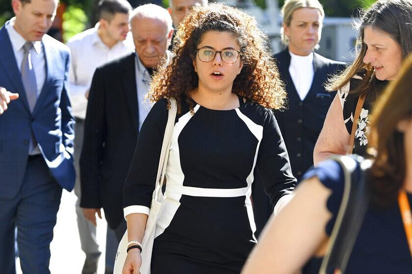 Noor Massarwe, sister of slain exchange student Aiia Maasarwe, arrives Oct. 29 at the Supreme Court of Victoria in Melbourne, Australia. Aiia, 21, was killed in January.