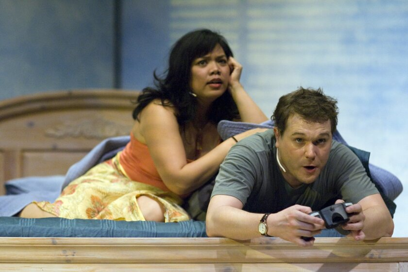 """Melody Butiu as Hope and Robert Brewer as Charles in San Diego Rep's musical """"Long Story Short."""""""
