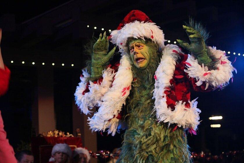 Grinch lights Old Globe holiday tree