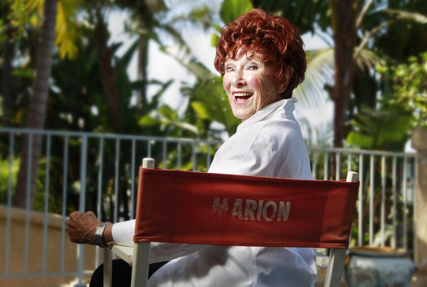 Actress Marion Ross, 90, who grew up in San Diego, poses for photos at her home in Cardiff.