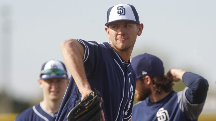 PEORIA, February 15, 2019 | Padres pitcher Nick Margevicius during Padres spring training at the Peo