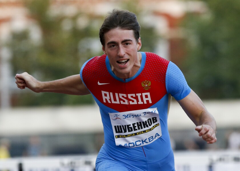 """FILE - In this Thursday, July 28, 2016 file photo, World hurdles 110m champion Sergey Shubenkov competes during the Russian Stars 2016 track and field competitions in Moscow, Russia. Shubenkov has been cleared in a doping case described as """"genuinely exceptional"""" that was prosecuted in secret ahead of the Tokyo Olympics. Shubenkov's positive test for a diuretic was blamed on """"unintentional ingestion of residue from medication being used to treat a family member."""" Track and field's Athletics Integrity Unit announced the verdict of an independent tribunal. (AP Photo/Alexander Zemlianichenko, File)"""