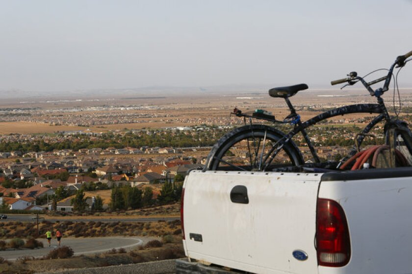 Palmdale, seen in the foreground, has been ordered to stop its Nov. 5 election.