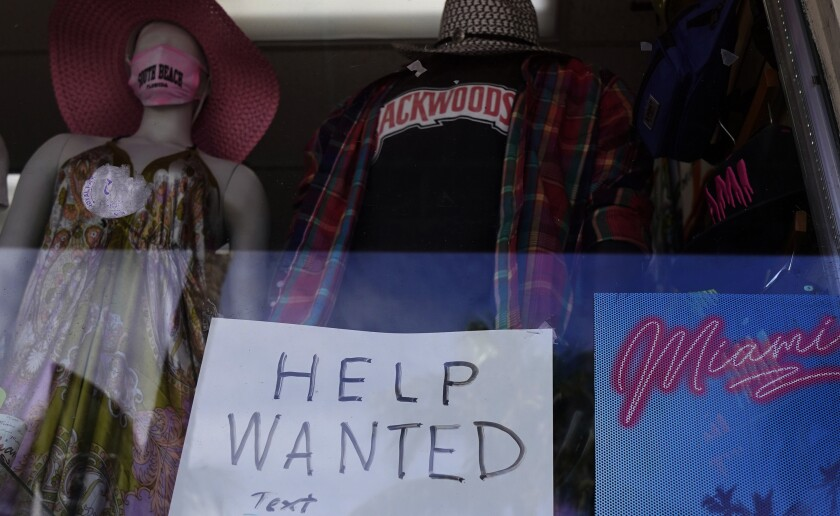 """A """"help wanted"""" sign in Florida."""