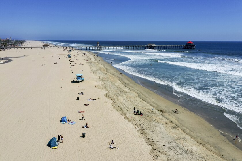 An aerial view of the Huntington Beach shoreline near the pier in May.