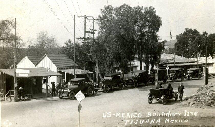The U.S.-Mexico Boundary line between San Diego and Tijuana circa 1922.