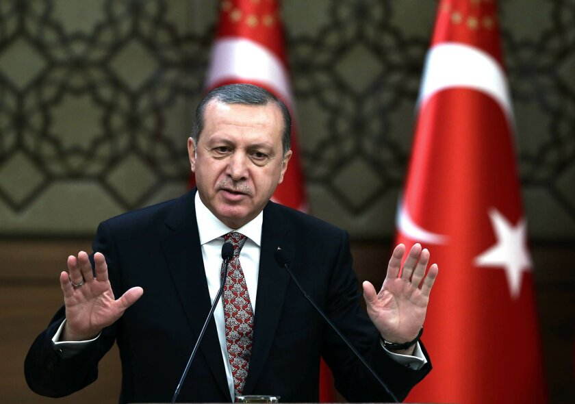 "Turkish President Recep Tayyip Erdogan addresses a meeting of local administrators at his palace in Ankara, Turkey, Wedesday, Feb. 10, 2016. Erdogan has ratcheted up his criticism of the United States for not recognizing Syrian Kurdish forces as ""terrorists,"" saying Washington's lack of knowledge o"