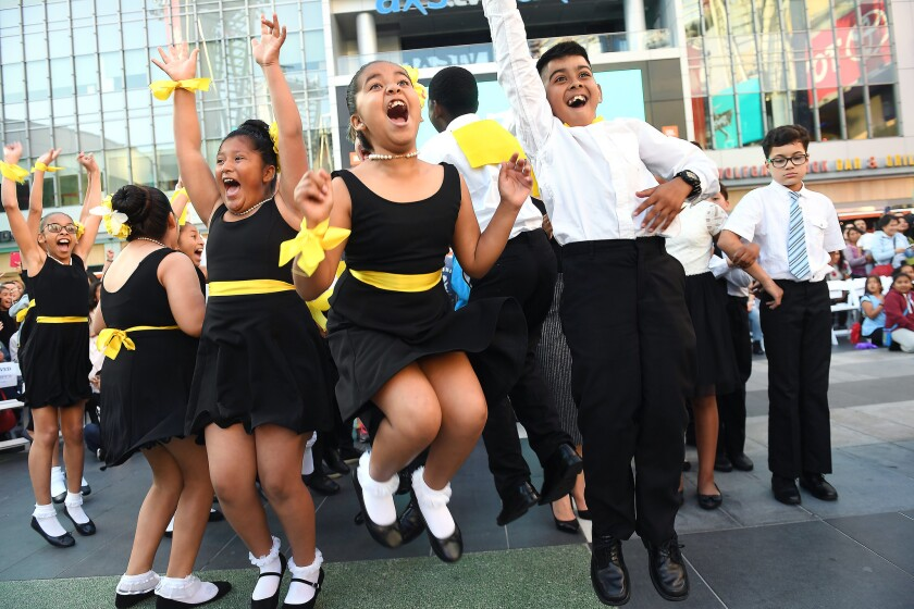 LOS ANGELES-CA-MAY 23, 2018: Estrella Elementary School students celebrate placing first in the 2018