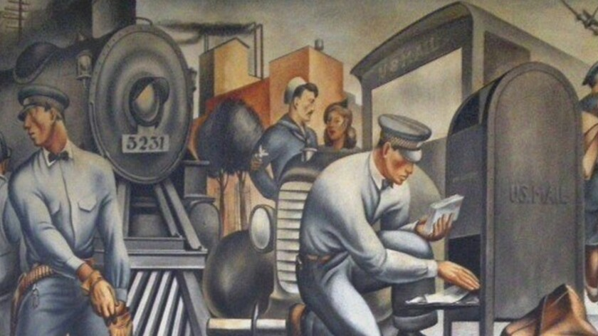 Fletcher Martin mural detail from the San Pedro post office, 1935-1938.