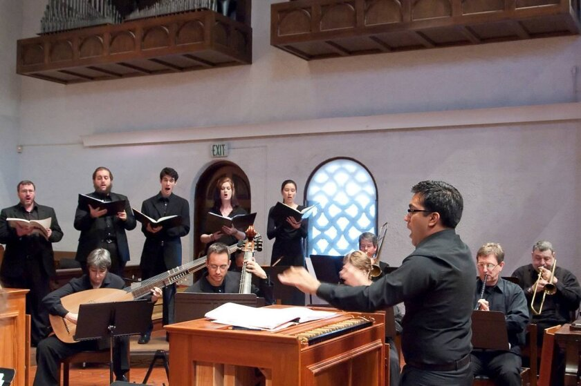 Ruben Valenzuela conducts the Bach Collegium San Diego. His work with the 17-year-old vocal and instrumental ensemble this week earned a 2020 award from Chorus America.