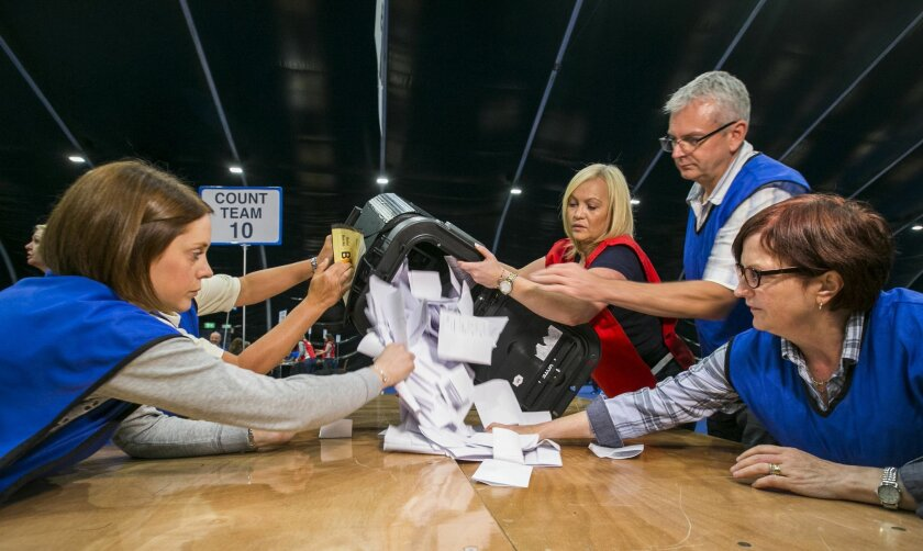 Countera begin to tally ballot papers at the Titanic Exhibition Centre in Belfast, Northern Ireland, as counting gets underway in the referendum on the UK membership of the European Union, late Thursday June 23, 2016. On Thursday Britain votes in a national referendum on whether to stay inside the