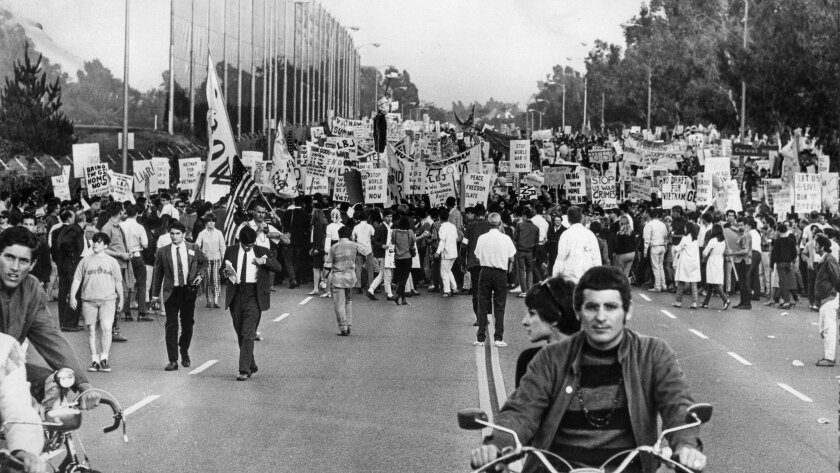 June 23, 1967: Protestors fill Motor Ave. as they start marching toward Century Plaza Hotel for an a