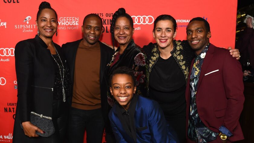 From left, Nat King Cole's daughter Timolin Cole, Dulé Hill, Nat King Cole's daughter Casey Col