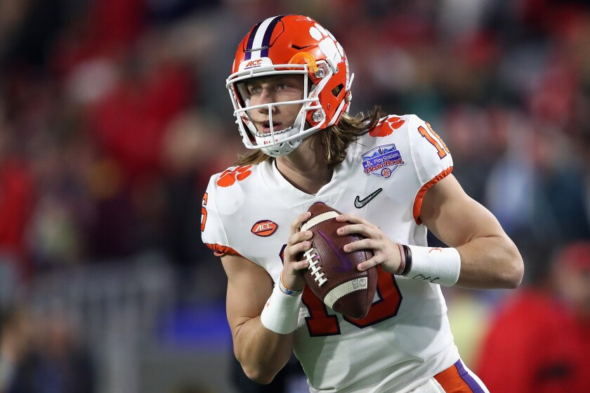 Clemson quarterback Trevor Lawrence warms up before a College Football Playoff semifinal game at the the PlayStation Fiesta Bowl against Ohio State on Dec. 28.