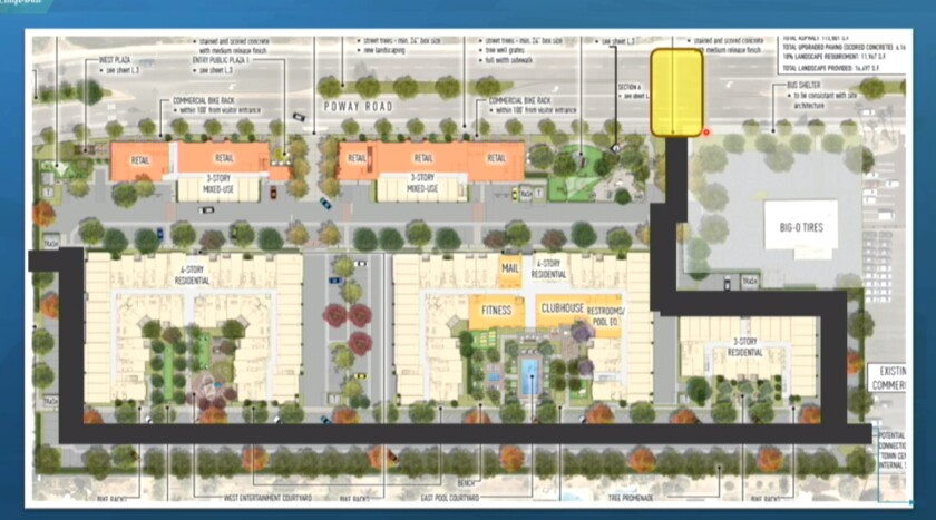 A map of the new mixed-used project provided by Fairfield Residential.