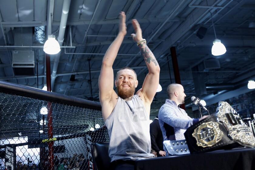 Conor McGregor hypes the crowd