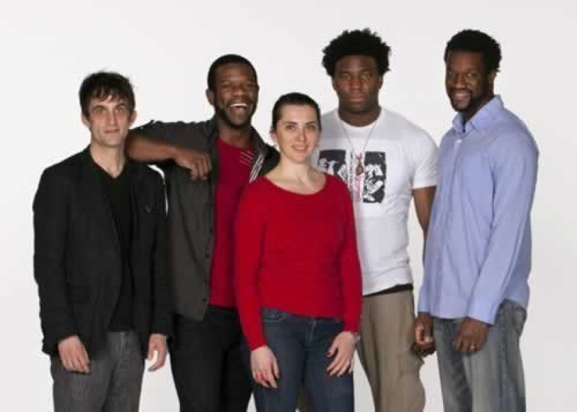Composer/percussionist Jonathan Melville Pratt (far left) and director Tea Alagic (center) with the cast of 'The Brothers Size': (from left) Antwayn Hopper, Okieriete Onaodowan and Gilbert Owuor. Henry DiRocco