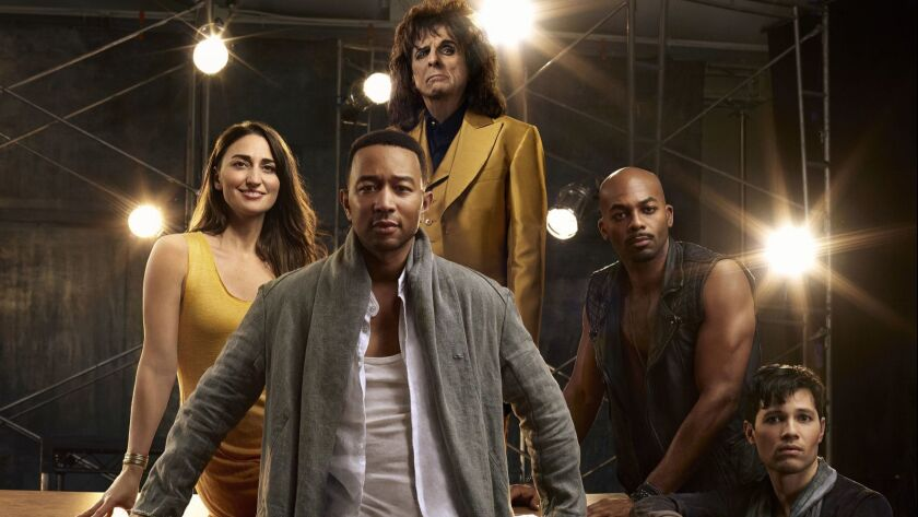 This image released by NBC shows, clockwise from foreground center, John Legend as Jesus Christ, Sar