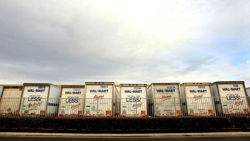 Walmart trucks line up at a warehouse in the Inland Empire in 2012.