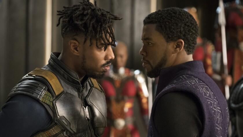 (L-R) - Erik Killmonger (Michael B. Jordan) and T'Challa/Black Panther (Chadwick Boseman) in a scen