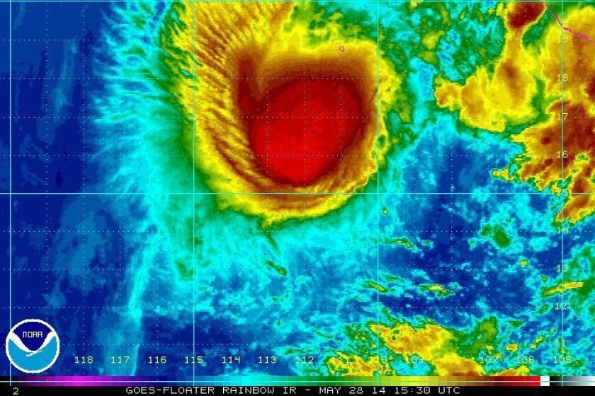 Hurricane Amanda over the Pacific Ocean on May 28. A new study finds hurricanes with female names are more deadly than those with male names.
