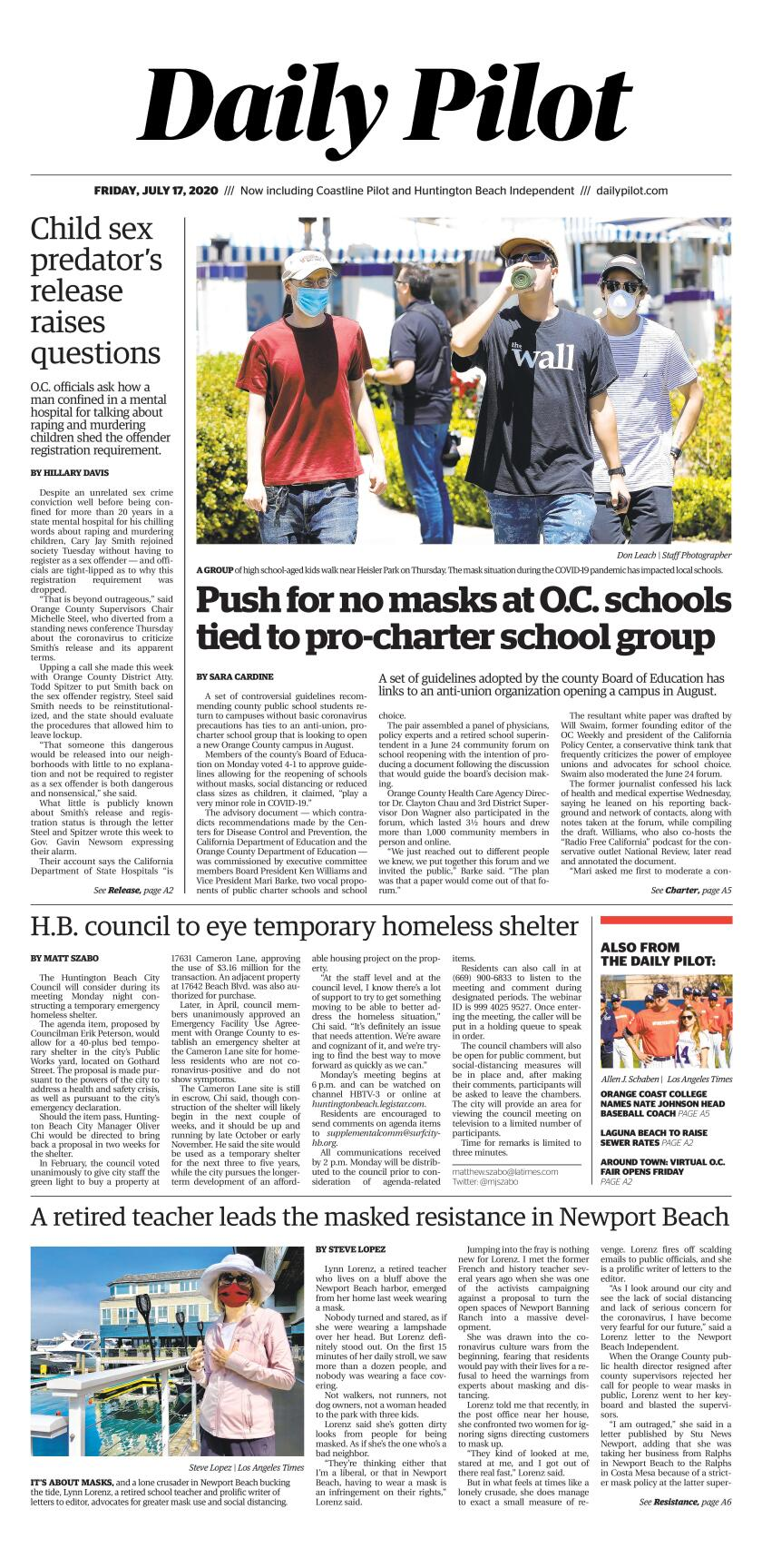 Friday's Daily Pilot cover.
