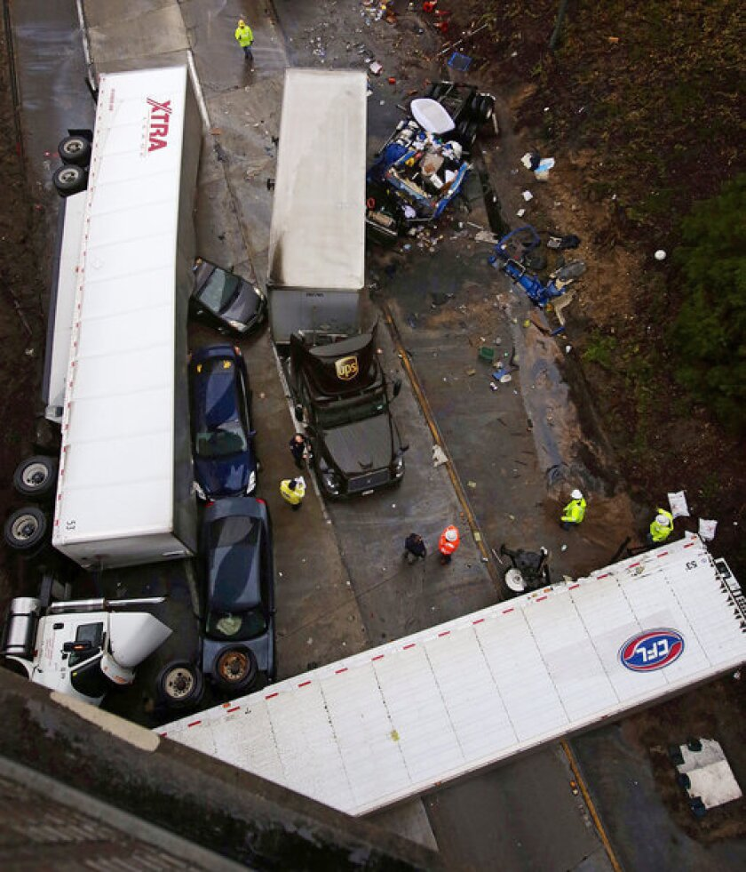 An investigation is underway after three big rigs collided with several passenger vehicles at the 210-134 Freeway transition around midnight, killing one person and injuring two others.