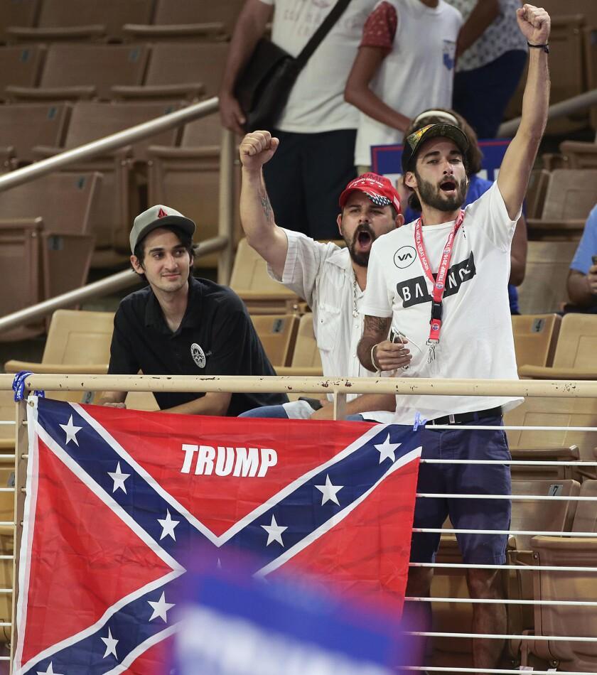 Confederate flag at a Trump rally
