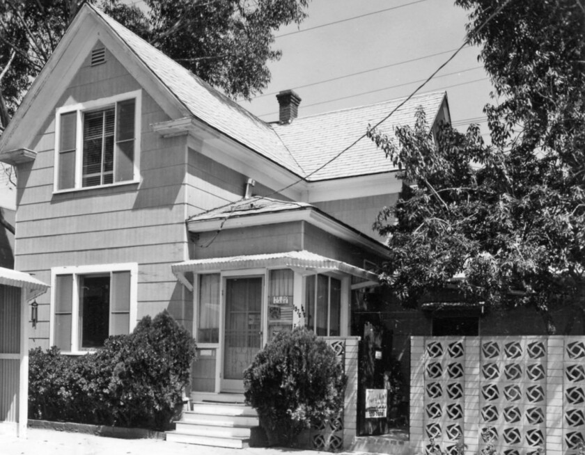 Professor Edward Snyder and his wife, Mary, lived at 1976 Hornblend St. in Pacific Beach, pictured in 1979 by Howard Rozelle.