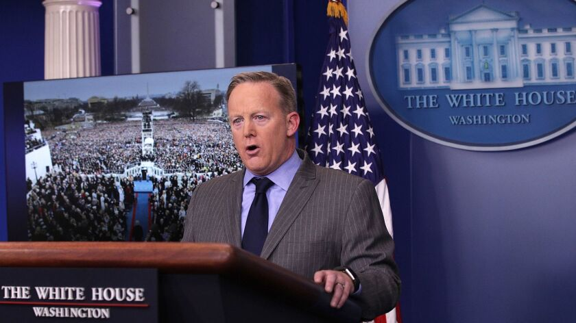 Sean Spicer's first press conference as White House Press Secretary, January 21, 2017, when he discussed the size of the crowd at President Trump's inauguration.