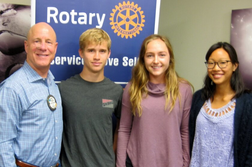 Del Mar-Solana Beach Rotary Founding President, Kevin Cahill (left) with Canyon Crest Academy scholarship recipients Sean McDowell, Kelly Bernd and Isabelle Imacseng.