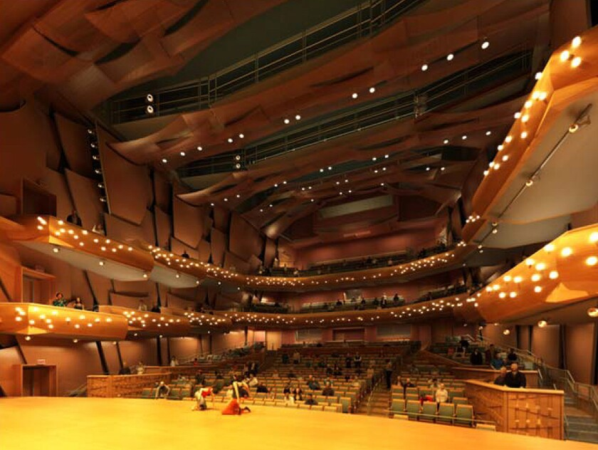 An artist's rendering of the Marybelle and Sebastian P. Musco Center for the Arts at Chapman University in Orange. Opera stars Placido Domingo and Deborah Voigt will headline the $78-million performance center's opening night on March 19.