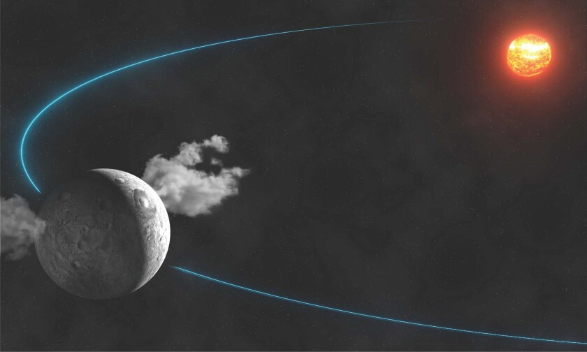 This artist's rendering shows water vapor rising from two dark spots on the dwarf planet Ceres, as reported in the journal Nature.
