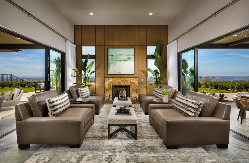 A single-story model home is among the three residences available in One Oak, a development by Shea Homes in Encinitas.
