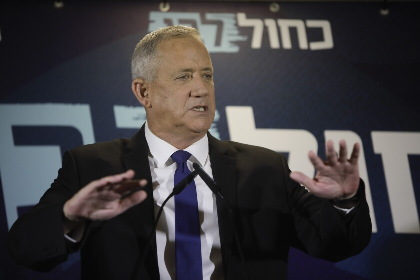 Blue and White party leader Benny Gantz delivers a statement Sept. 19 in Tel Aviv.