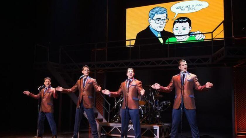 "The national touring production of ""Jersey Boys"" plays through May 14 at the San Diego Civic Theatre.It stars, from left, Aaron De Jesus as Franki Valli, Cory Jeacoma as Bob Gaudio, Matthew Dailey as Tommy DeVito and Keith Hines as Nick Massi. (Broadway/San Diego)"
