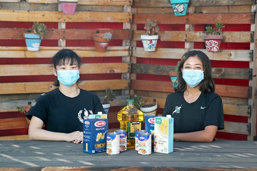 Sage Hill School sophomores Ingrid Luo, left, and Eleni Engelbrecht.