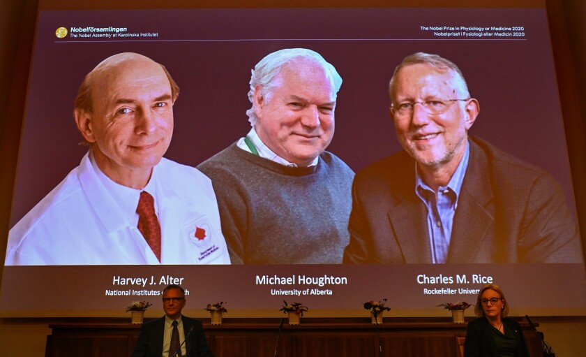 Winners of 2020 Nobel Prize in Physiology or Medicine