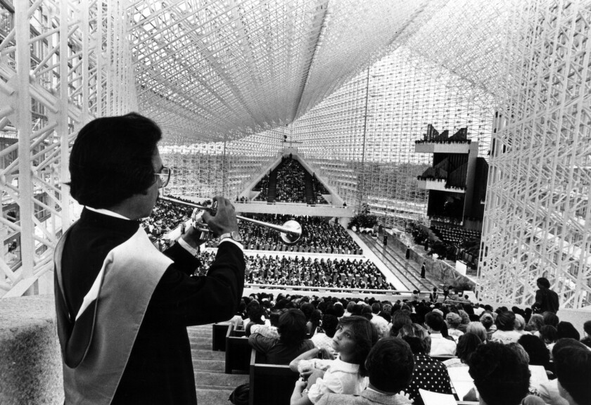 On opening day of the new Crystal Cathedral September 14, 1980 Trumpeter John McIntyre, Westminster,